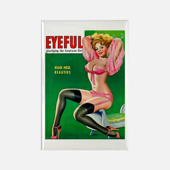 Eyeful Vintage Pin Up Girl in Pink Rectangle Magne