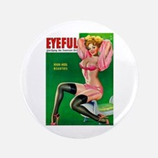 """Eyeful Vintage Pin Up Girl in Pink 3.5"""" Button (10"""