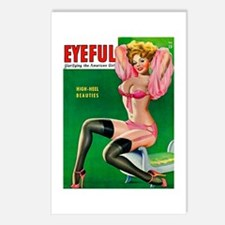 Eyeful Vintage Pin Up Girl in Pink Postcards (Pack
