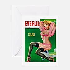 Eyeful Vintage Pin Up Girl in Pink Greeting Card