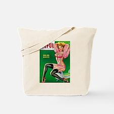 Eyeful Vintage Pin Up Girl in Pink Tote Bag