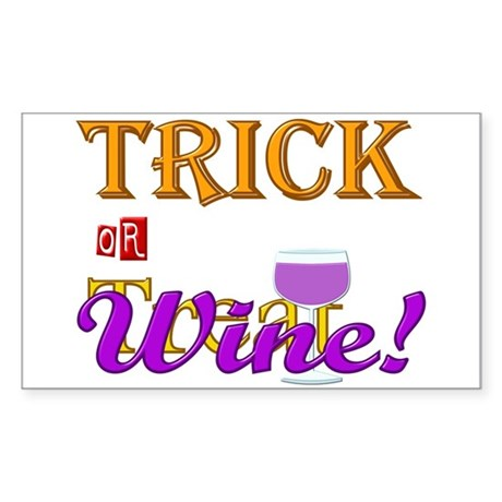 Halloween Trick or Wine! Sticker (Rectangle)