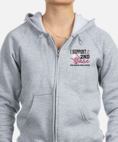 Second 2nd Base Breast Cancer Zip Hoodie