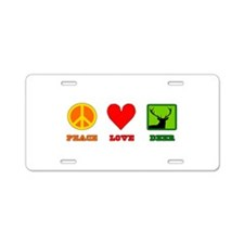 Peace Love Deer Aluminum License Plate