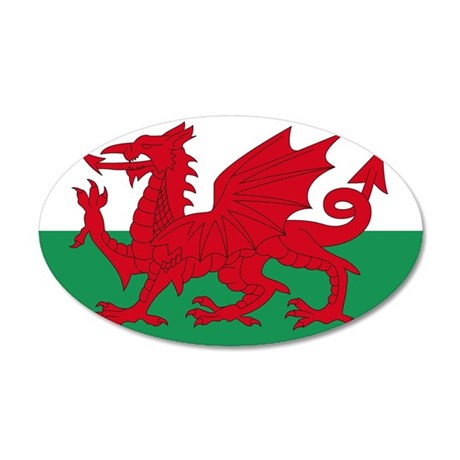 Welsh Red Dragon 20x12 Oval Wall Peel
