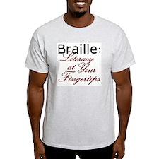 Ash Grey T-Shirt - Braille Literacy