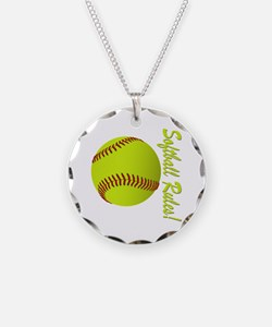 Girls Softball Necklace Circle Charm