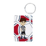 Cute Soccer Boy Aluminum Photo Keychain