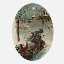 Vintage Santa and his Sleigh, Ornament (Oval)