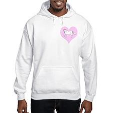 White Horse, Pink Heart Hoodie