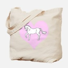 White Horse, Pink Heart Tote Bag