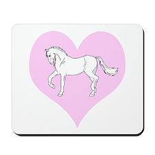 White Horse, Pink Heart Mousepad