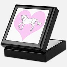 White Horse, Pink Heart Keepsake Box