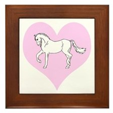 White Horse, Pink Heart Framed Tile