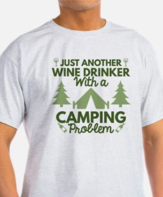 Wine Drinker Camping T-Shirt