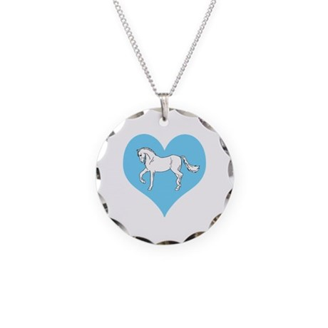 White Horse, Blue Heart Necklace Circle Charm