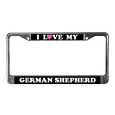 I Love My German Shepherd License Plate Frame