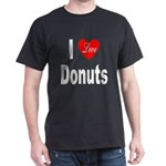 I Love Donuts (Front) Black T-Shirt