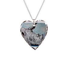 Wildlife, rhino, art, Necklace Heart Charm