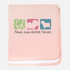 Peace, Love, Norfolk Terriers baby blanket