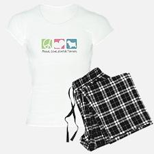 Peace, Love, Norfolk Terriers Pajamas