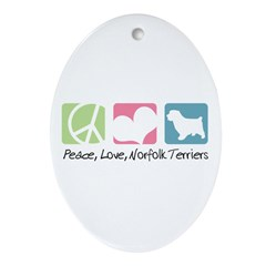 Peace, Love, Norfolk Terriers Ornament (Oval)
