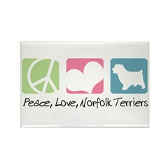 Peace, Love, Norfolk Terriers Rectangle Magnet