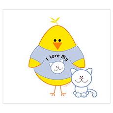 Cat Loving Chick Poster