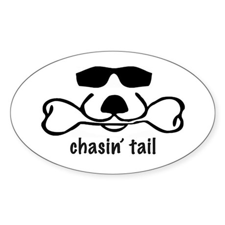 chasin' tail Sticker (Oval)