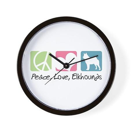Peace, Love, Elkhounds Wall Clock