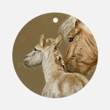 Fjord and Foal Ornament (Round)