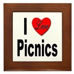 I Love Picnics Framed Tile