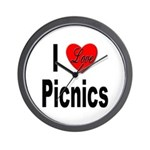 I Love Picnics Wall Clock