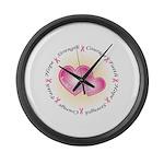 Pink Ribbon Large Wall Clock