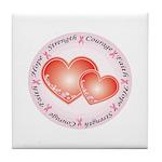 Pink Ribbon Tile Coaster