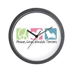Peace, Love, Norwich Terriers Wall Clock