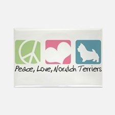 Peace, Love, Norwich Terriers Rectangle Magnet