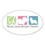 Peace, Love, Norwich Terriers Sticker (Oval 10 pk)