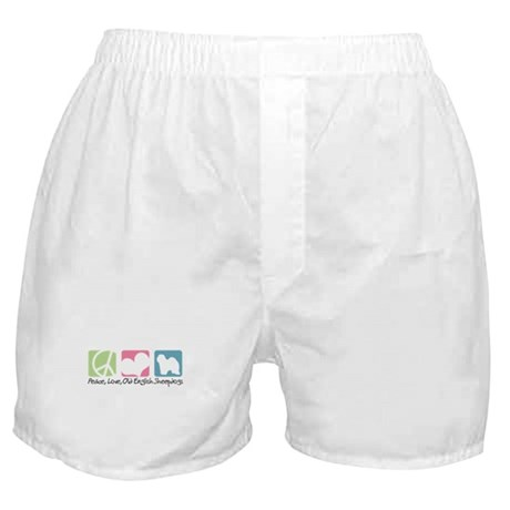 Peace, Love, Old English Sheepdogs Boxer Shorts
