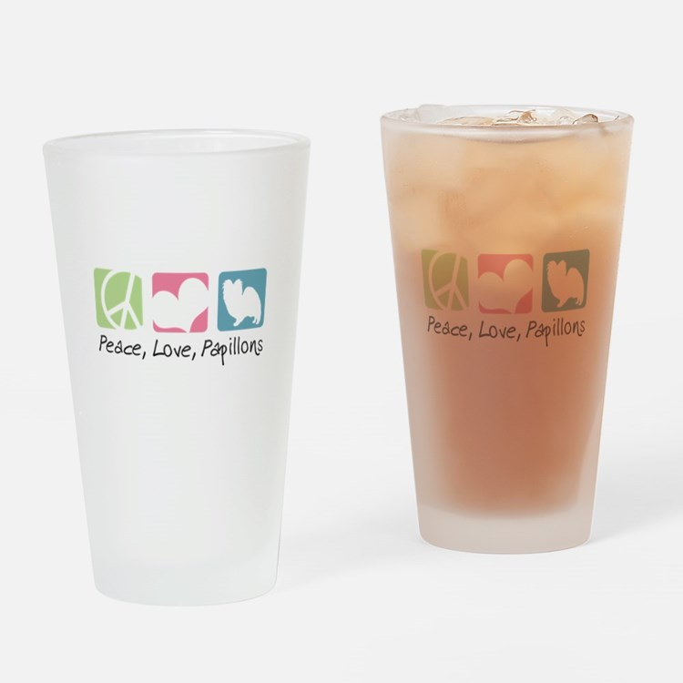 Peace, Love, Papillons Drinking Glass