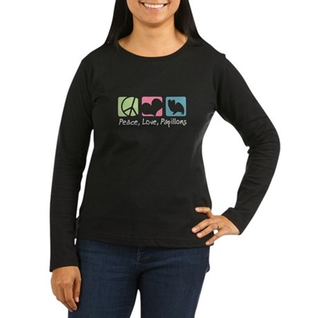 Peace, Love, Papillons Women's Long Sleeve Dark T-