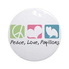 Peace, Love, Papillons Ornament (Round)