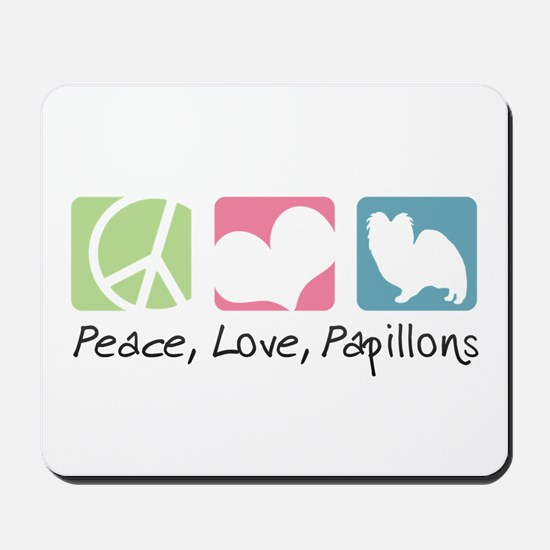 Peace, Love, Papillons Mousepad