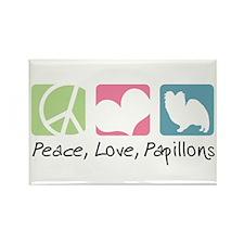 Peace, Love, Papillons Rectangle Magnet