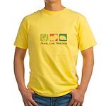 Peace, Love, Pekingese Yellow T-Shirt