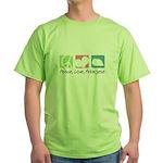 Peace, Love, Pekingese Green T-Shirt