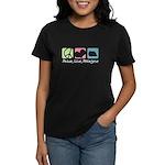 Peace, Love, Pekingese Women's Dark T-Shirt