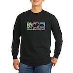 Peace, Love, Pekingese Long Sleeve Dark T-Shirt
