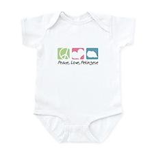 Peace, Love, Pekingese Infant Bodysuit