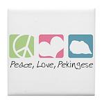 Peace, Love, Pekingese Tile Coaster